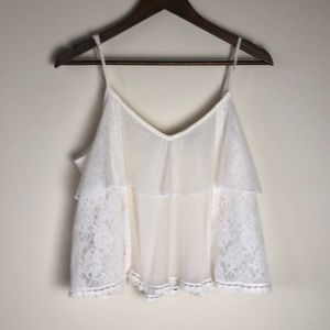 NWOT American Eagle Cream Lace Crop camisole